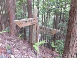 「ツヅラト峠登り口 300m、国道422号 2,070m」の道標