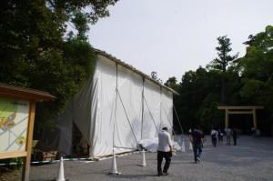 工事中の手水舎(外宮)