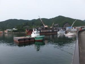 国道42号から望む長島造船