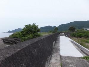 若宮神社前の赤い橋から続く堤防