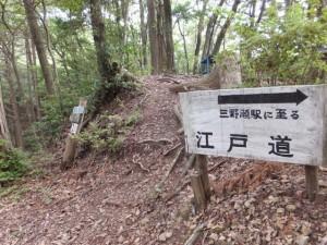 始神峠にある「三野瀬駅に至る 江戸道」の道標