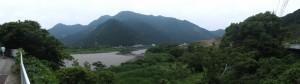 銚子川から離れる所でのパノラマ(銚子橋~便ノ山橋)