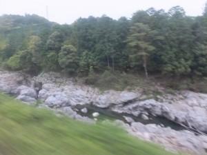 大滝峡(JR紀勢本線の車窓から)