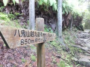 「八鬼山越え道標 850m 約15分、八鬼山峠(頂上)2,980m 約110分」の道標,