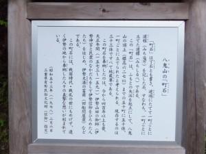 八鬼山の「町石」説明板(籠立場)