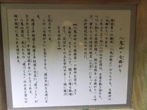 八鬼山・七曲がりの説明板