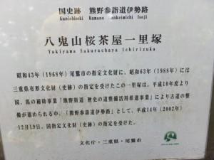 八鬼山・桜茶屋一里塚の説明板
