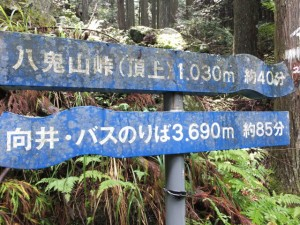 「八鬼山峠(頂上)1,030m 約40分、向井・バスのりば3,690m 約85分」の道標