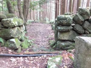 「是ゟ(より)左くまの道」の道標の先、猪垣の間の参道