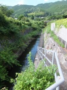 水路に架かる石橋へ(熊野古道)