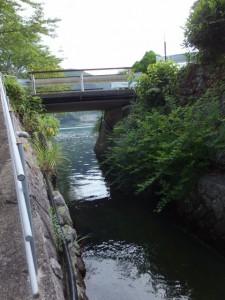水路脇から望む賀田湾