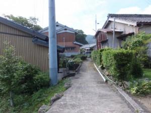 賀田湾に流れ込む水路に架かる石橋から飛鳥神社へ