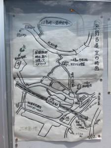 JR二木島駅付近の手書き「熊野古道案内略図」