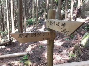「新鹿側登り口 1.3km、逢神坂峠 350m」の道標
