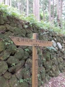 「逢神坂峠 1.5km、新鹿側登り口 100m」の道標