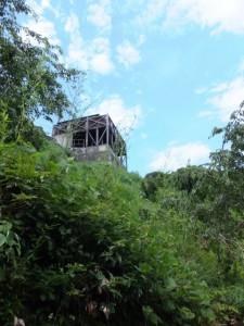 下り坂の途中から見上げた徐福茶屋