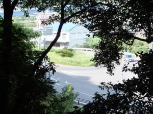 大泊登り口から松本峠への登り始めで振り向いて望む大泊海岸交差点