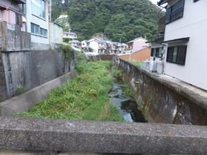 笛吹橋から望む西郷川の下流側