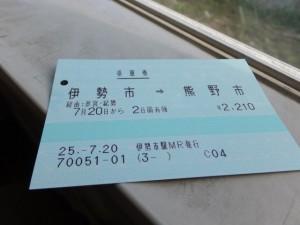 JR伊勢市駅~熊野市駅の乗車券