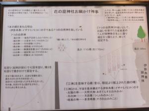 お綱かけ神事の説明板(花の窟神社)