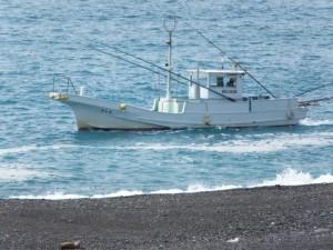 七里御浜の波打ち際を航行する漁船
