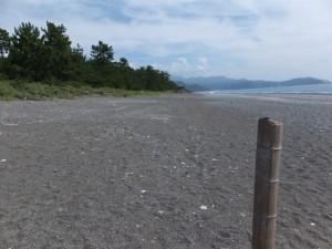 七里御浜、途切れた防波堤の中央から望む獅子岩方向