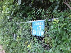 国道42号(御浜町役場付近)沿いの 「海抜17m」表示
