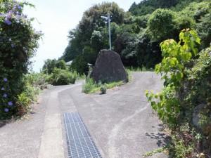 道の真ん中にある大石