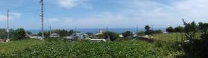 道の真ん中にある大石の先から望む熊野灘