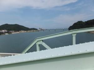 熊野大橋の隣に架かる歩道橋から望む熊野川