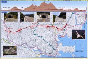 伊勢志摩連絡道路 国道167号線第二伊勢道路の縦断図と平面図