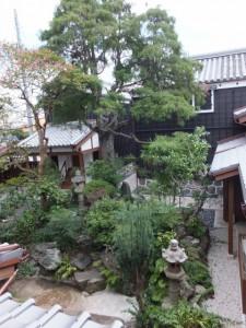 2階から望む中庭(鳥羽大庄屋かどや)