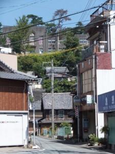 中之郷会館付近から振り向いて望む高台にある旧鳥羽小学校