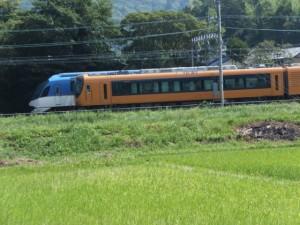 加茂神社道の道標付近からの望む近鉄 観光特急しまかぜと近鉄特急
