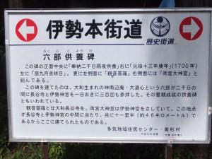 六部供養碑の説明板(伊勢本街道)