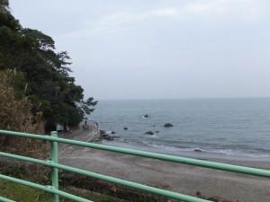 二見隧道出口付近から望む禊の浜(二見興玉神社)