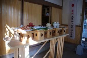 新嘗祭の神饌が準備された野原神社(七保神社)