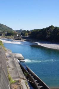粟生頭首工付近から眺める宮川の下流側(大台町粟生)