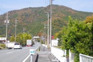 庭に一里塚がある民家付近の国道42号(大紀町滝原)