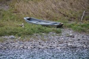 対岸(大紀町三瀬川側)に引き上げられている船(三瀬の渡し)
