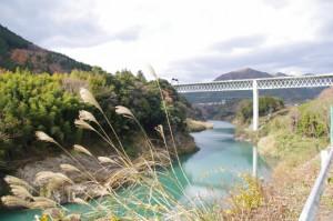 県道から望む三瀬の渡しの上流側に望む紀勢自動車道の高架