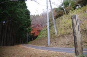 茶臼山登り口から説明板へ(大台町)