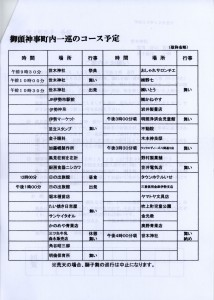 御頭神事 吹上町内巡行スケジュール(世木神社)